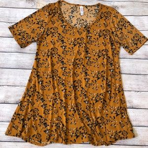 Lularoe Floral Mustard Yellow Perfect T Size L